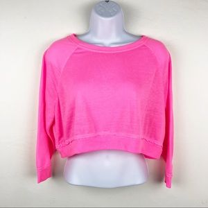 FOREVER 21 Neon Hot Pink Cropped 3/4 Sleeve Top